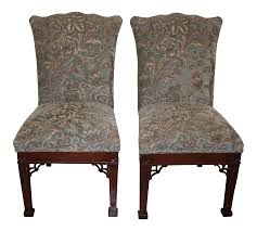 Ethan Allen Upholstered Dining Room Chairs - A Pair | Chairish