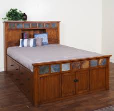 Rustic Style Captain Bed Queen Size With Storage Unit And Headboard Bookcase