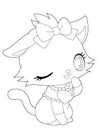 Jewelpet Funny Kitty Coloring Pages For Kids Printable Free
