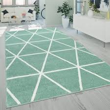 teppich wohnzimmer grün weiß skandi design rauten muster