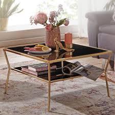 wohnling design couchtisch glas schwarz 70 x 70 cm 2 ebenen gold metallgestell wohnzimmertisch beistelltisch glastisch quadratisch
