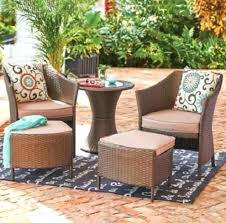 Suncast Resin Patio Furniture by Suncast Elements Resin Patio Storage Side Table Chairs Java Wicker