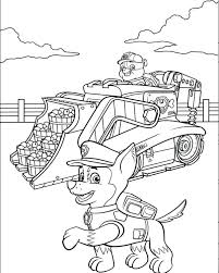 Coloring Pages Paw Patrol Rubble On His Construction Truck And Chase