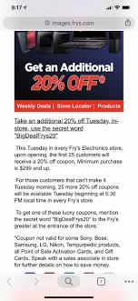 Fry's In-Store/USA] Fry's 20% Off Minimum Purchase Of $299 ...