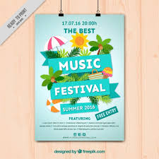 Music Festival Poster With Summer Elements Free Vector