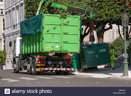 100 Southwest Truck And Trailer Commercial Truck Emptying Recycle Bins On The Streets Of Pau