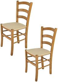 tommychairs 2er set stühle venice für küche und esszimmer robuste struktur aus lackiertem buchenholz farbton eichenholz und gepolsterte sitzfläche