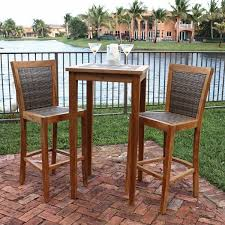 3 Piece Bar Height Patio Bistro Set by Endearing Bar Height Bistro Table Outdoor Mamagreen Allux Teak