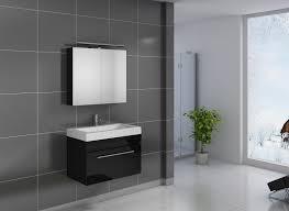 2tlg badezimmer set spiegelschrank schwarz 80 cm lunik