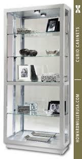 680576 howard miller modern silver curio cabinet