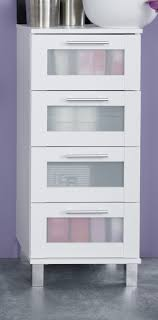bad schrank badezimmer kommode in weiß mit glas schubkasten