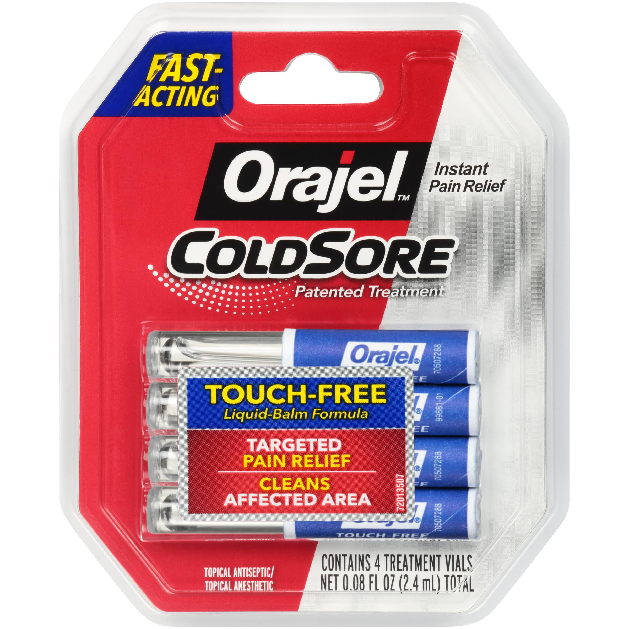 Orajel Touch-Free Cold Sore Treatment - With Applicator, 0.08oz, 4 Vials