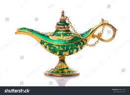 Antique Brass Genie Lamp by Vintage Lamp Aladdin Old Style Oil Stock Photo 708077437