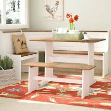 Breakfast Bench 3 Piece Nook Dining Set Bar Table