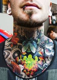 Front Neck Colored Tattoo Men