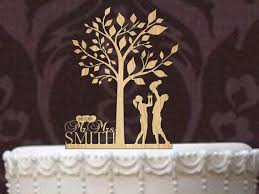 Custom Wedding Cake Topper Monogram Personsalized Silhouette With Your Last Name Date Tree Of Life Rustic