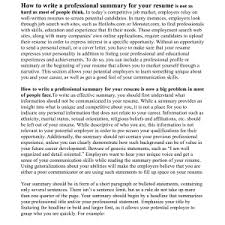 How To Write A Professional Summary For A Resume by Cover Letter How To Write A Professional Summary For Your Resume