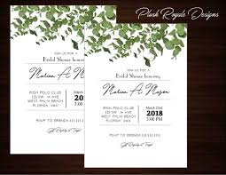 Minimalist Greenery Rustic Modern Bridal Shower Invitations Eucalyptus Flowers Wedding Elegant Succulent Garden