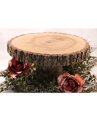 Rustic Cake Stand Wedding Wood Slab Slice