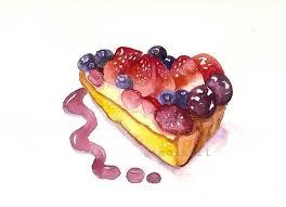 Berries and Cream Cake Slice Original Watercolor Painting Sweet Kitchen Food Art $40 00