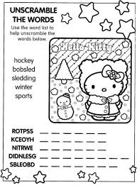 Hello Kitty Christmas Coloring Page With Word Scramble Puzzle