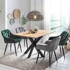 wildeiche tisch mit samt stühlen in grün grau inveria 5