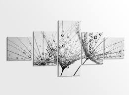 leinwandbilder 5 tlg 200x100cm schwarz weiß pusteblume schirmchen löwenzahn blume wohnzimmer leinwand bild 9ab3400 wandtattoos und leinwandbilder
