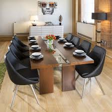 100 Large Dining Table With Chairs Walnut Glass 2400 X 1100 8 Black Modern