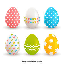 Assortment of six realistic eggs for easter day