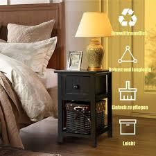costway nachttisch mit korb und schublade nachtkonsole aus holz nachtschrank nachtkommode beistelltisch beistellschrank flurtisch mit schublade
