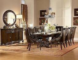 GRAND DARK CHERRY 108 FORMAL DINING TABLE 8 BROWN LEATHER CHAIRS FURNITURE