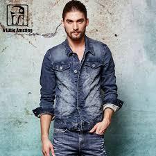 Mens Washed Denim Jacket Knitted Elastic Jackets Slim Fit Casual Streetwear Vintage Jean Clothing