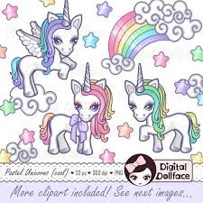 Kawaii Cute Unicorn Clipart Pastel Rainbow Princess