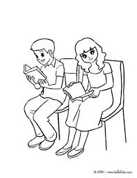 Pupils Reading A Book In The Classsroom Coloring Page