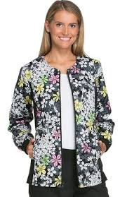Ceil Blue Print Scrub Jackets by Your Cherokee Flexibles Scrubs Discount Superstore