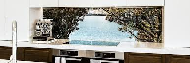 Bay View Between Trees Graphic Splashback