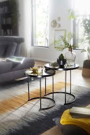 finebuy design beistelltisch rund ø 50 42 cm 2 teilig schwarz mit spiegel glas wohnzimmertisch 2er set satztisch verspiegelt couchtisch