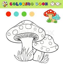 Stock Vector Of Coloring Book Page Template With Mushrooms In Grass Color Samples
