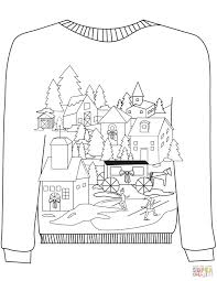 Click The Christmas Ugly Sweater With A Village Motif Coloring Pages To View Printable