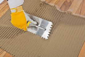 tile adhesive notched trowel stock photo image 27136792