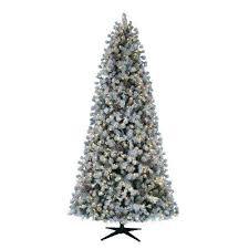 Pre Lit Flocked Christmas Tree 9 Ft Led Artificial 75 Classic Slim