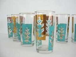 Vintage Drinking Glasses Tumbler Glass Set Turquoise Gold Leaves