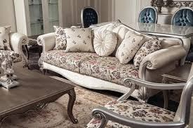 casa padrino luxus barock sofa creme beige silber 230 x 84 x h 99 cm edles wohnzimmer sofa mit blumenmuster und dekorativen kissen barock
