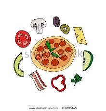Pizza illustration Pizza slice with melted cheese and pepperoni Image in cartoon style with