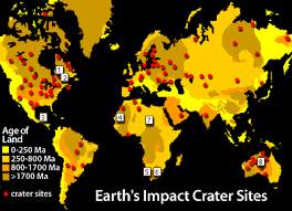 Image Of A Map That Displays The Earths Impact Crater Sites Please Have Someone Assist