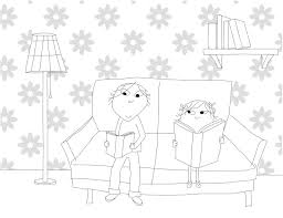 Charlie And Lola Reading Coloring Page
