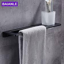 schwarz handtuch bar zahnbürste tasse raum aluminium handtuch rack in der badezimmer wand montiert handtuch halter bad zubehör