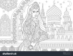 Coloring Page Of Turkish Woman Islamic Filigree Decor Arabic Mosque Crescent Moons And