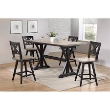 Sand And Black Counter Height Dining Table