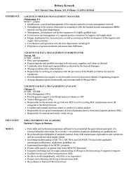 Related Job Titles Logistics Analyst Resume Sample